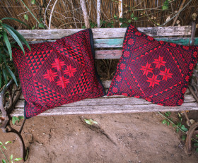Two hand-embroidered pillow set 'Arab tribes motives'