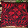 Pillow with hand embroidery 'Arab tribes motive' (red)