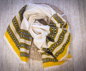 Milk light scarf with golden-yellow ornament (Dorze tribe)