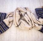 Бежево-синий хлопковый шарф ручной работы (Эфиопия)