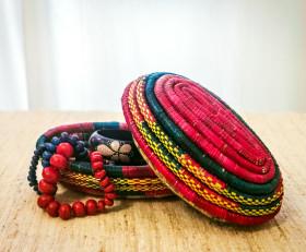 Шкатулка для украшений из натуральной соломки (Эфиопия)