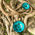 Set of two turquoise plates