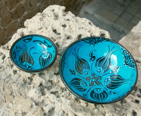 Set of two turquoise bowls (Ceramics from Turkey)